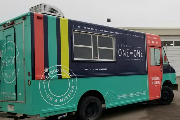 Non profit food truck with custom wrap