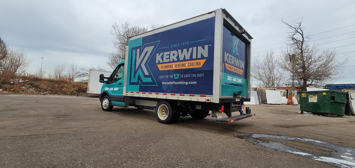 Box truck with custom vehicle wraps