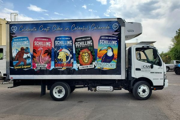 Beverage products being advertised on a vehicle wrap