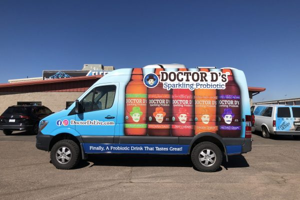 Beverage company with a custom vehicle wrap