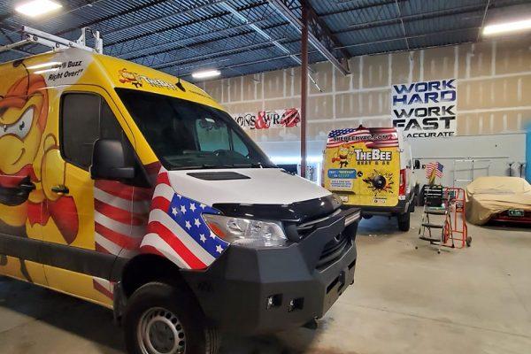 Graphics being installed on van