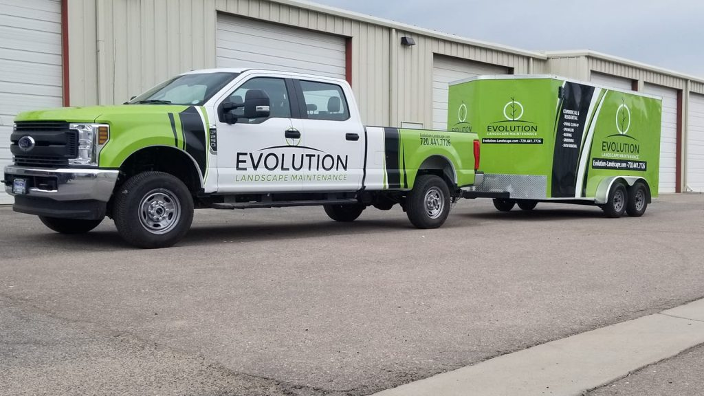landscaping company car wrap advertising